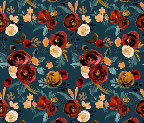 Valentina Red Rose - river teal blue fabric by crystal_walen on Spoonflower - custom fabric