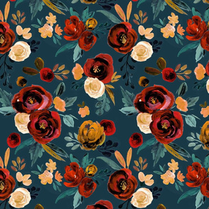 Valentina Red Rose - river teal blue
