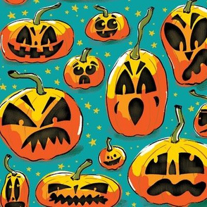 jack o lanterns - LARGE TEAL