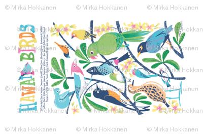 Hawaii Birds Plumeria Tea Towel