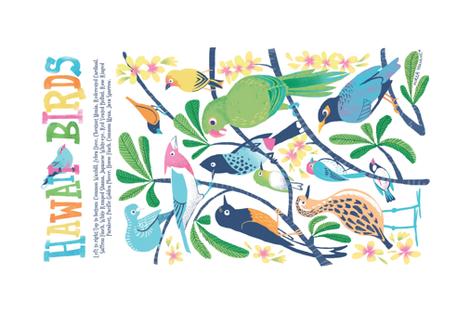 Hawaii Birds Plumeria Tea Towel fabric by mirkahokkanen on Spoonflower - custom fabric