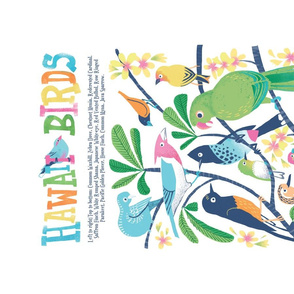 Hawaii Birds Plumeria Tea Towel