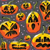 Jack o Lanterns Purple - Large