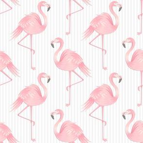 Pink Flamingos on Soft Gray Stripes
