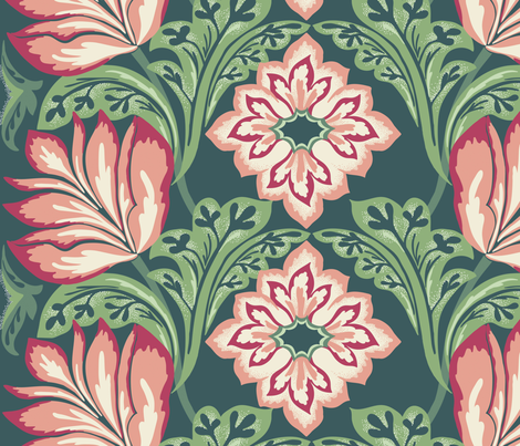 Victorian era formal floral fabric by patternanddesign on Spoonflower - custom fabric