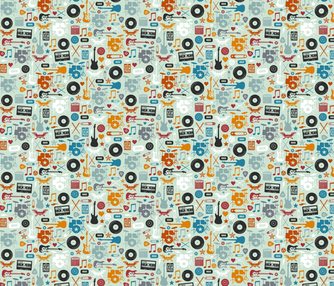 I Love Rock & Roll Small fabric by lellobird on Spoonflower - custom fabric