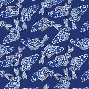 Oh Koi // Blue and White