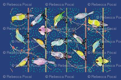 Penciled Parakeets Tea Towel