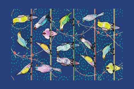 Penciled Parakeets Tea Towel fabric by muddyfoot on Spoonflower - custom fabric