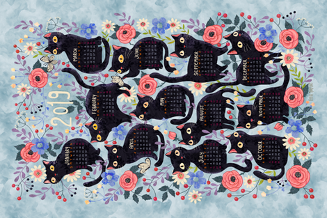 2019cat-calendar-teatowel-blue fabric by gaiamarfurt on Spoonflower - custom fabric