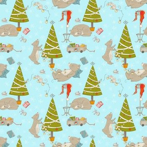 Christmas and bears in forest - Medium