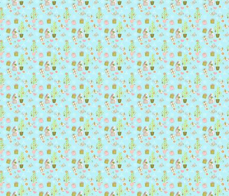 Bunny and Birds at christmas - Medium fabric by utart on Spoonflower - custom fabric