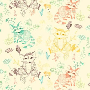 01 racoons color print