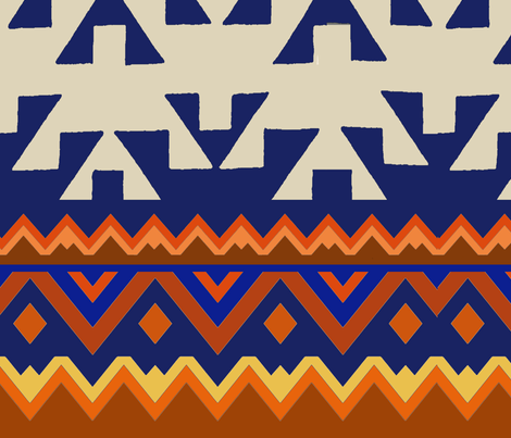 Aztec Table Runner fabric by vagabond_folk_art on Spoonflower - custom fabric