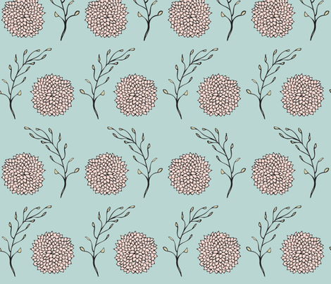 Vintage Floral Pattern Blue and Blush fabric by silveroakdesign on Spoonflower - custom fabric