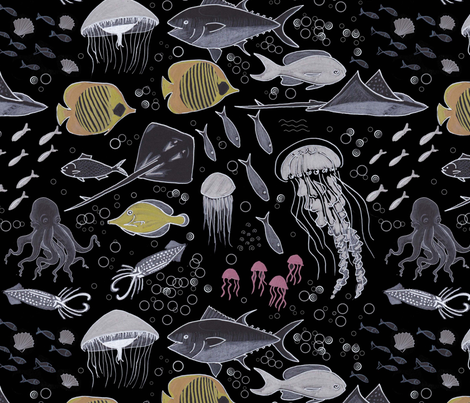 Creatures of the depths fabric by joanna_plucknett on Spoonflower - custom fabric