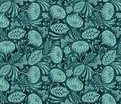 Arabella - Damask Aqua fabric by heatherdutton on Spoonflower - custom fabric