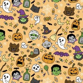 Halloween Doodles on Orange with Colors