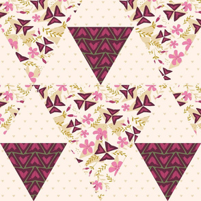 Cheater Quilt Triangles Purple Shamrock / Light
