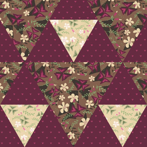 Cheater Quilt Triangles Purple Shamrock / Dark
