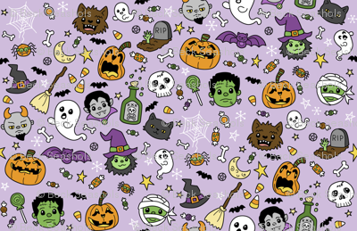 Halloween Doodles on Purple with Colors