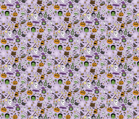 Halloween Doodles on Purple with Colors fabric by beckadoodles on Spoonflower - custom fabric