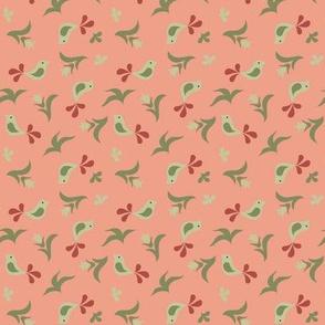 sage & terracotta birds and buds on dark peach