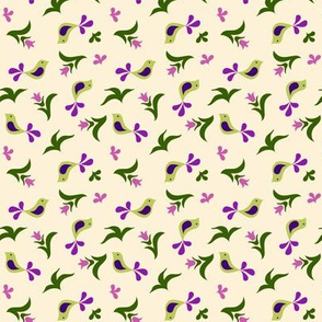 green birds & purple buds on cream