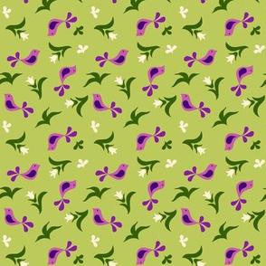 birds & buds on green