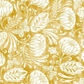 Arabella - Damask Mustard Yellow