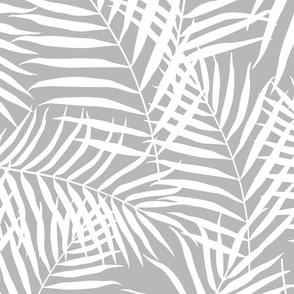 Palm Print White on Gray