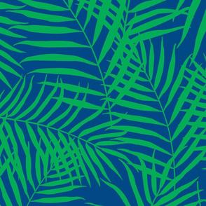 Palm Print Green on Navy Blue