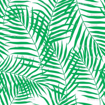 Palm Print Green on White
