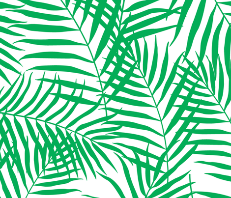Palm Print Green on White fabric by always_june on Spoonflower - custom fabric