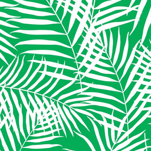 Palm Print White on Green