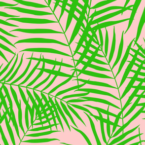 Palm Print Green on Pink