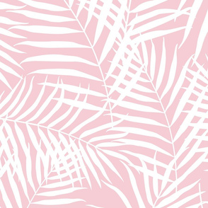 Palm Print White on Blush Pink