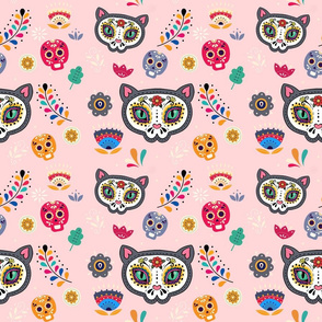 day of the dead pink cat design