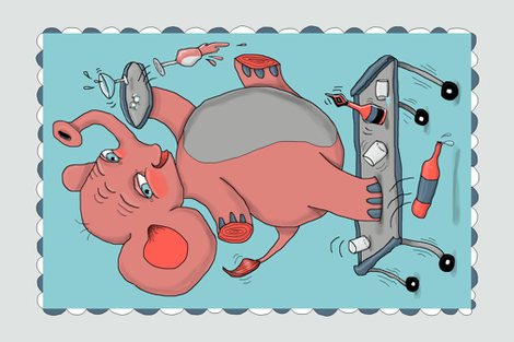 i'm so drunk, i'm seeing pink elephants! tea towel fabric by amy_g on Spoonflower - custom fabric