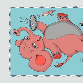 i'm so drunk, i'm seeing pink elephants! tea towel, pink blue aqua gray