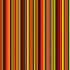 BN11 - Narrow Variegated Stripes in Brown - Orange - Red - Yellow - Green - Lengthwise fancy stripe
