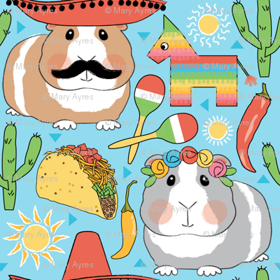 mexican guinea pigs on blue