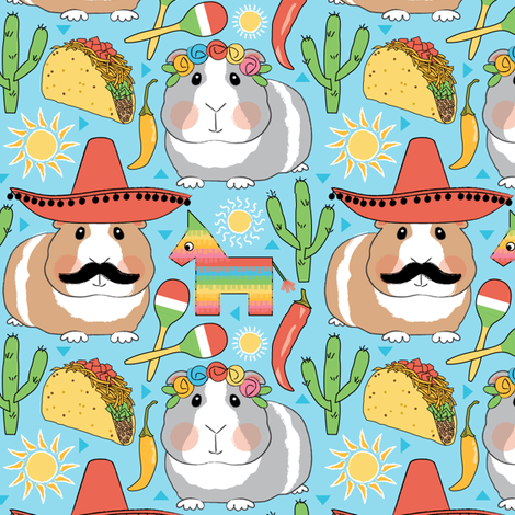 mexican guinea pigs on blue fabric by lilcubby on Spoonflower - custom fabric
