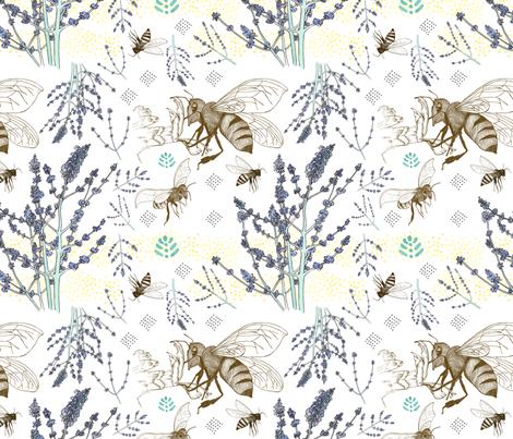 Russian Sage and Bumblebees fabric by nicoletlaursen on Spoonflower - custom fabric