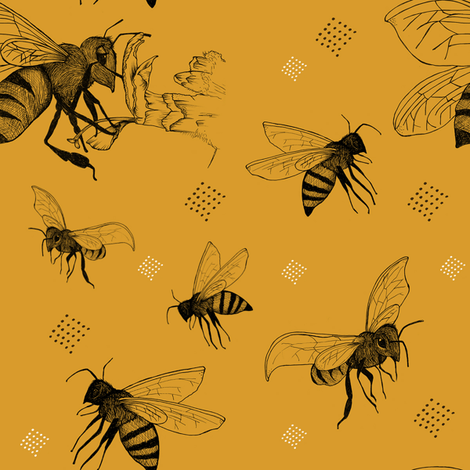 Buzzing Bees fabric by nicoletlaursen on Spoonflower - custom fabric