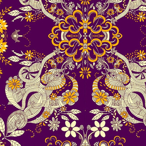 hand drawn victorian doodle in purple and gold