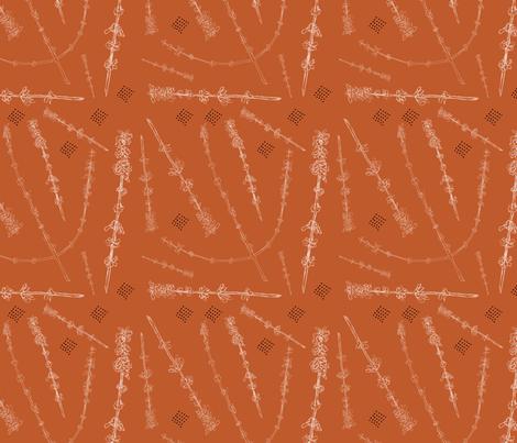 Russian Sage on Burnt Sienna fabric by nicoletlaursen on Spoonflower - custom fabric