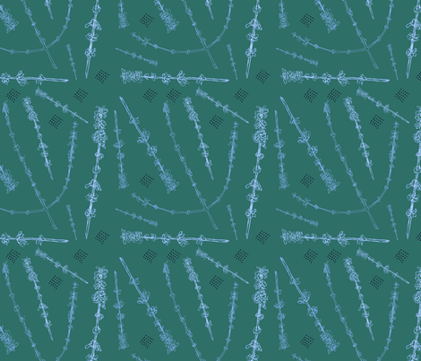Russian Sage on green blue fabric by nicoletlaursen on Spoonflower - custom fabric