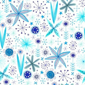 blue sparkly floral pattern