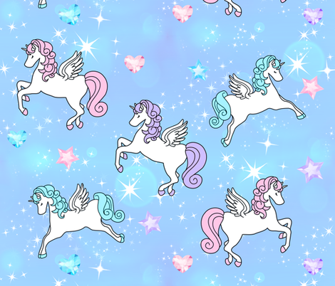 2 Pegasus winged unicorns pegacorns glitter sparkles stars universe galaxy sky purple blue violet pink gems jewels diamonds topaz hearts amethyst  crystals bubbles kawaii adorable cute horses pony ponies  wings fabric by raveneve on Spoonflower - custom fabric